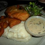 Chicken Schnitzel with mash and mushroom sauce,