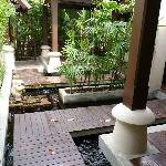 Fish pond outside room