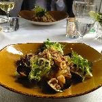 Cod dish with mussels, calamari and risotto