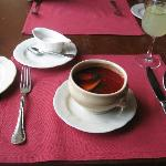 Borscht with duck breast - delicious!