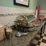 Free breakfast area.  (hot food and oatmeal)
