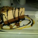 Choc Peanut Butter Mud Pie -- memorable, especially with the candied bacon garnish
