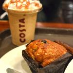Caramel Frappe and Blueberry Muffin