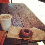 Stumptown coffee and chocolate glazed doughnut