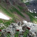 Near the top of the pass, still some snow in July