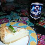 Freshly baked Key Lime Pie with local beer