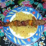 Tuesday Dinner: Beef Kebab with fresh peppers and pineapple