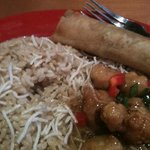 Honey Chicken with noodles, rice and roll.