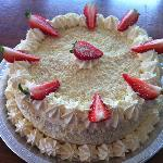 Strawberry and White Choc Gateau