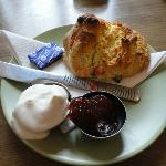 Fruit scone with butter, jam and cream at Dirleton Gallery Tea room