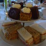 Sandwiches and cake