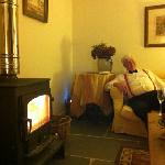 at the end of a great night we return to the lovely lounge and real fire.