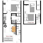 Queen 2 bedroom floor plan.