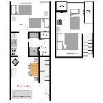 Family 2 bedroom floor plan.
