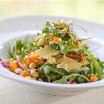 Honey-roasted Pumpkin, Semidried Tomato, Pine Nut, Chickpea, Parmesan and Rocket Salad with Pest