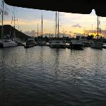 Marina at sunset from dockside tent