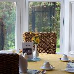 A view of the sunny breakfast room