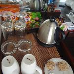 Coffee and snack tray in room