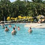 The pool; having fun playing pool volleyball.