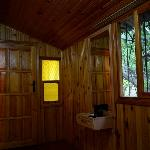 inside the wooden bungalow