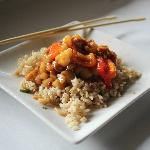 Kung pao with brown rice