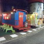 Train cars used as picnic areas