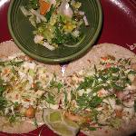 Main Redfish Tacos with savoy cabbage & jalapeno slaw