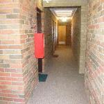 Hallway to bathrooms