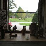 View from community (living) room with collectibles.