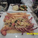mums lobster thermidor which came with a giant bowl of salad and a finger bowl
