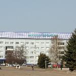 "Hotel ""Buzuluk""; in front is the square containing a statue of local cosmonaut Yuri Romanenko."