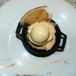 Apple Fusion with cinnamon ice cream and gold paint on the plate.
