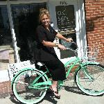Angela Imperato, Owner riding a bike in Toluca Lake, CA