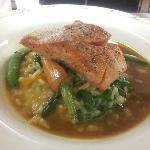 Seared Salmon, Spinach, Roasted Butternut Squash, Seafood Risotto