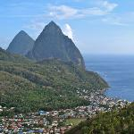 Both Pitons with town from coast road