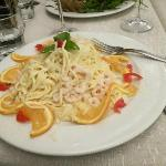 Pasta with a delicious cream sauce and shrimp! Fantastic!