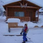 Cabin with skier out front