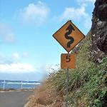 5 mph was a good idea on this blind curve on a narrow road high above the sea.