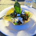 Salad with asparagus, tomatoes, fresh feta