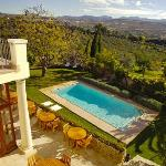 Swimming pool with view at the valley