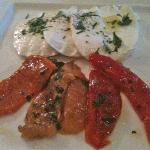 Peppers and fresh mozzarella app.