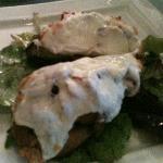 Bruschetta topped with Liana's homemade mozzarella.