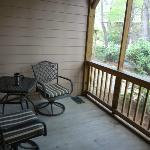 comfy seating area on the porch
