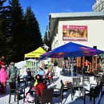 view on ski bar from the ski slope
