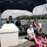 group on the pontoon boat