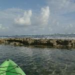Kayaking, looking past the reef