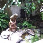 fountain in the garden area