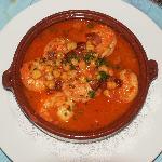 Grilled Langoustino, lardon, garbanzo dish.