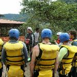 Preparing for water canyoning outside of Baños