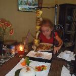 My fish skewer & Shelby's bolognaise - satisfying & yummy!!
